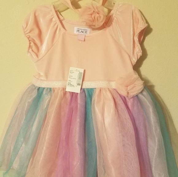 9-12 mons Pastel Pink dress with Headband